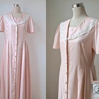 Vintage Laura Ashley Dress - Lace Shawl Sailor Collar - Pink Linen Dress - Summer Wedding - 80s Edwardian Style