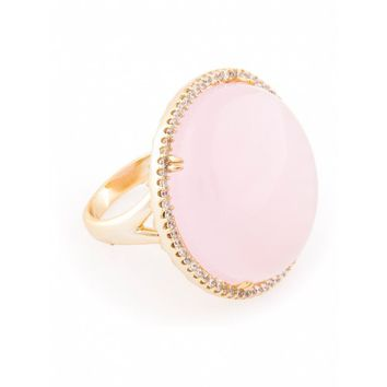 Go Frey: Gold plated rose quartz ring - Tresor Maison