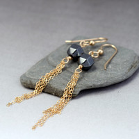 Gold Fringe Earrings with Hematite