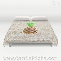 Duvet Cover Psych QUEEN or KING size Television Show Pineapple Room Decorative Burton Guster Nicknames TV Pop Culture Humor Lime Neon Brown