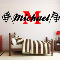"Boys Name Racing Monogram Wall Decal Nursery Room Vinyl Wall Graphics 15"" Tall Bedroom Decor"