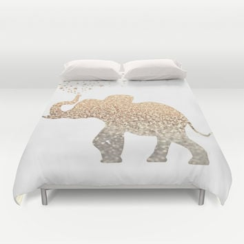 *** GATSBY ELEPHANT *** Gold Glitter Duvet Cover by Monika Strigel | Society6