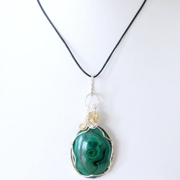 Wrapped malachite pendant, sterling wire wrapped, green gemstone necklace, artisan jewelry