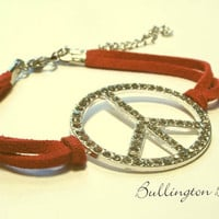 Peace Bracelet, Leather Bracelet, Red Bracelet, Rhinestone Bracelet (A8)