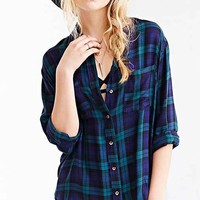 BDG Tartan Plaid Button-Down Shirt- Floral Multi