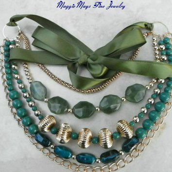 Green Lucite Bead Ribbon Tie 5 Strand Multi Chain Necklace; Handmade | MaggieMays - Jewelry on ArtFire