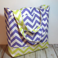 Purple and Lime Tote - Beach Bag - Lime Beach Tote - Lime Green Bag - Purple Tote Bag - Large Tote Bag - Chevron Beach Bag - Tote Bag - Bag