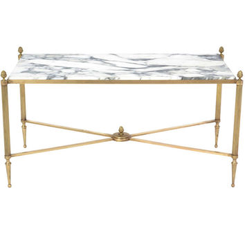 French Carrara Marble Top Maison Bagues Coffee Table