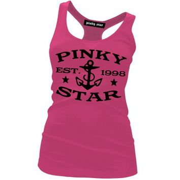 "Women's ""Pinky Star Established"" Racerback Tank by Pinky Star (Pink)"