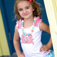 Crab Appliqued Top Embroidered  Mint green Chevron and coral polka dots boutique clothing 18-24M  2/3 4/5, 6/6X, 7/ 8,