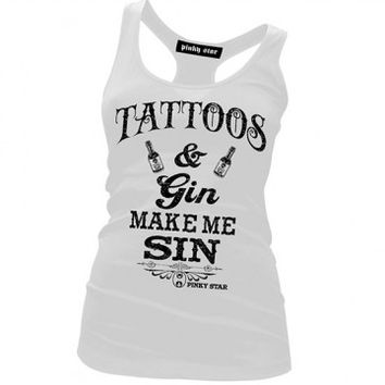 "Women's ""Tattoos & Gin Make Me Sin"" Racerback Tank by Pinky Star (White)"