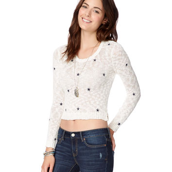 Aeropostale Womens Sheer Stars Cropped Sweater - Beige,
