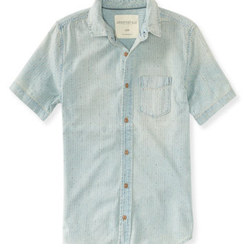Light Wash Printed Chambray Shirt
