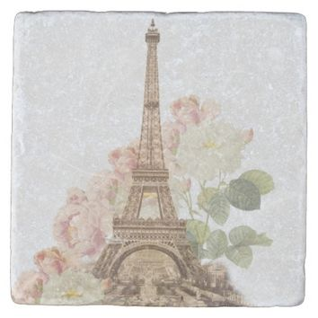 Paris Pink Rose Vintage Romantic Stone Coaster