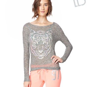 LLD Long Sleeve Sequin Tiger Snit Top