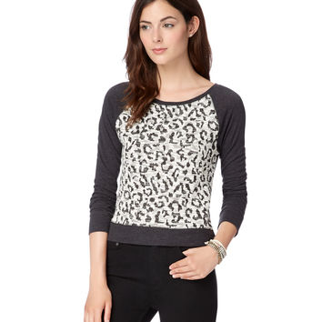 Map To Mars Leopard Print Raglan Sweatshirt