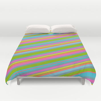 Summer Stripes Duvet Cover by Texnotropio