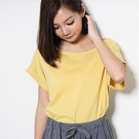 Modern Pure Color Folding Sleeve Smooth Fabric Tee Mustard-Wholesale Women Fashion From Icanfashion.com