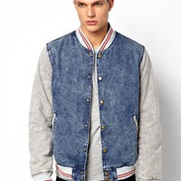 ASOS Varsity Jacket In Denim