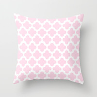 Pink Quatrefoil Pattern Throw Pillow by Marianne Gilliand