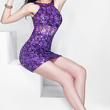 Short Sequin Open Back Primavera Dress