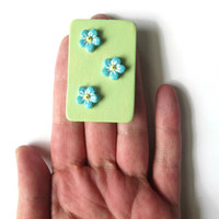 Forget Me Nots pin, hand painted wooden jewelry, 3D blue floral brooch with pale green background