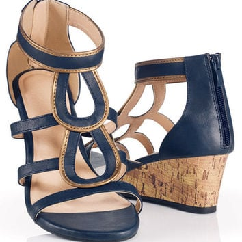 Avon: Indigo Zipperback Wedge