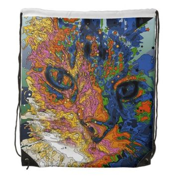 Psychedelic Cat Face Backpack