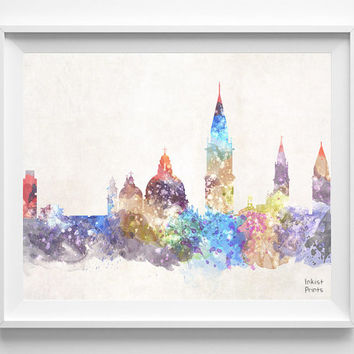 Venice Skyline, Italy Watercolor, Poster, Veneto Print, Bedroom, Art, Cityscape, City Painting, Living, Illustration, Europe [NO 440]