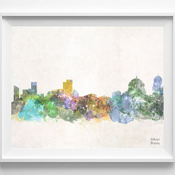 Sofia Skyline, Bulgaria Watercolor, Poster, Bulgarian Print, Bedroom, Art, Cityscape, City Painting, Living, Illustration, Europe [NO 442]