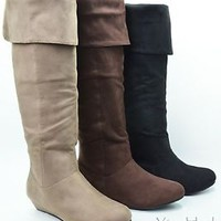 Women's Tall Knee High Boots Faux Suede Almond Toe Wedge Boot Shoes New