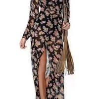 Flimsy Floral Maxi Shirt Dress - OASAP.com