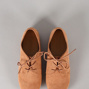 Ox-1 Round Toe Lace Up Oxford Flat