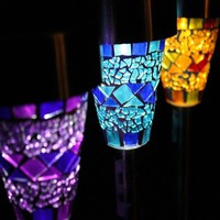 Six Mosaic Glass Garden Border Solar Lights