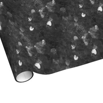 Black Confetti Hearts Wrapping Paper