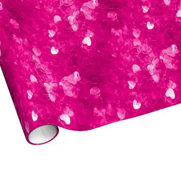 Pink Confetti Hearts Wrapping Paper