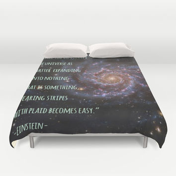 Einstein's Unified Fashion Theory Duvet Cover by Hoshizorawomiageteiru | Society6
