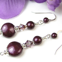 Blackberry Pearl Crystal Earrings, Swarovski Lilac Shadow, Sterling Silver Rondelles, Bead Caps, and Ear Hooks, Elegant Handmade Dangles