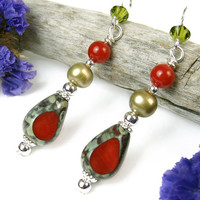 Red Glass and Green Freshwater Pearl Earrings, Czech Faux Stone Beads, Bamboo Coral, Swarovski Olivine Crystals, Sterling Silver, Handmade