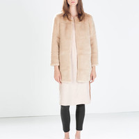 LONG FUR COLLAR COAT