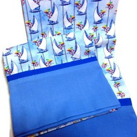 Pillowcase Handmade Nautical Sailboats Blue Bedding Housewares Cotton