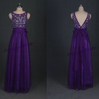 Cheap long purple tulle prom dresses with crystals,2014 beaded gowns for homecoming party,chic bridesmaid dress for women hot.
