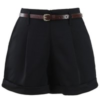 Basic Belted Shorts in Black