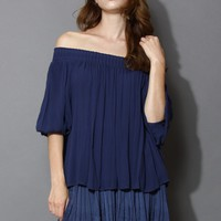 Sunny Day Off-shoulder Crepe Top in Navy