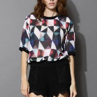 GEO Block Sheer Chiffon Top