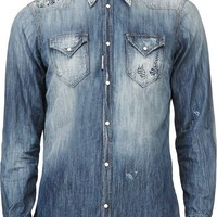 Blue Distressed Denim Shirt