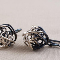 Half-oxidized wireball dangle earrings, sterling silver