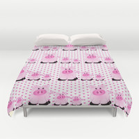 Pigs and Pink Hearts Duvet Cover by pugmom4