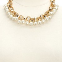 CHAIN & PEARL COLLAR NECKLACE