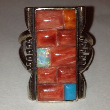 ON SALE Navajo Coral Turquoise Ring Sz 7.5 Bill Willie Sterling Silver Opal Spiny Oyster Inlay 925 New Vintage Native Inlay Jewelry USA Gift